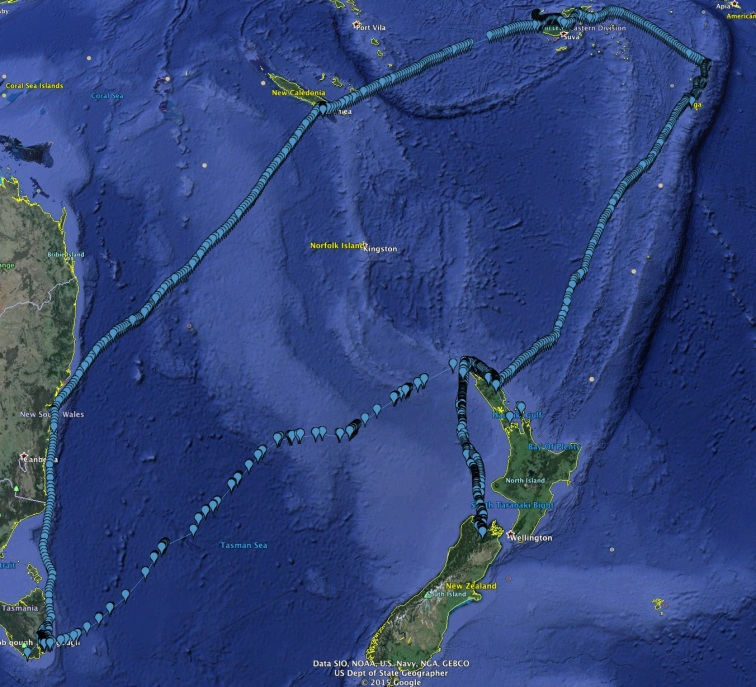 Track of Trip south Pacific 2015